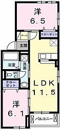 フェリア太田A 2階2LDKの間取り