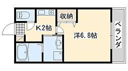 フローラ岡本A棟 1階1Kの間取り