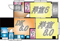 兵庫県神戸市灘区城内通2の賃貸マンションの間取り