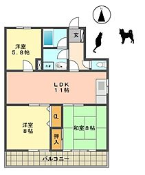 愛知県名古屋市名東区つつじが丘の賃貸マンションの間取り