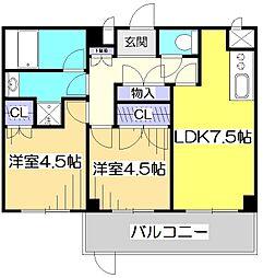東京都国立市富士見台3丁目の賃貸マンションの間取り