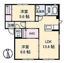 メゾンシャルムA・B棟[B102 号室号室]の間取り