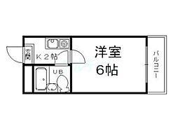 京都府京都市東山区今熊野宝蔵町の賃貸マンションの間取り