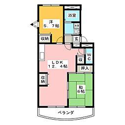 シャトー小松原III[3階]の間取り