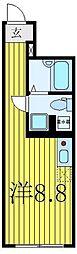 東武東上線 大山駅 徒歩8分の賃貸マンション 1階ワンルームの間取り