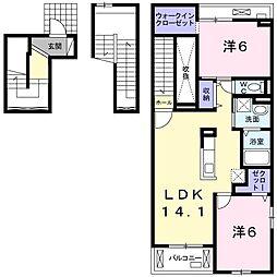 つくばエクスプレス 柏たなか駅 徒歩17分の賃貸アパート 3階2LDKの間取り