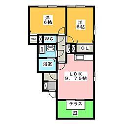 ロイヤルガーデン連取D[1階]の間取り