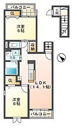 滋賀県東近江市ひばり丘町の賃貸アパートの間取り