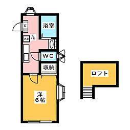 ホワイトキャッスル遠見塚7番館[1階]の間取り