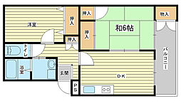 兵庫県姫路市飾磨区英賀西町1の賃貸アパートの間取り