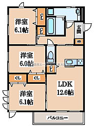 (仮称)D-room玉串町西[2階]の間取り