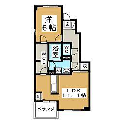 ハマユウ石神沢II[1階]の間取り