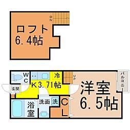 愛知県名古屋市西区新福寺町1の賃貸アパートの間取り
