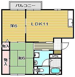 サンコート辻子B棟[1階]の間取り