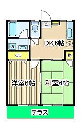 エステートYASUI A棟[105号室]の間取り