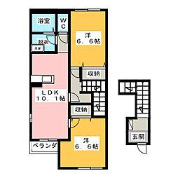 三重県鈴鹿市桜島町4丁目の賃貸アパートの間取り