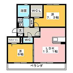 愛知県岡崎市大平町字欠下の賃貸アパートの間取り