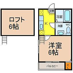 愛知県名古屋市港区築三町2丁目の賃貸アパートの間取り