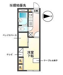 愛知県日進市藤塚1丁目の賃貸アパートの間取り