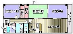 パール久米田[201号室]の間取り