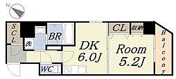 マリンブルーマンションV 5階1LDKの間取り