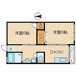 イーマハウスウメダ 4階2DKの間取り