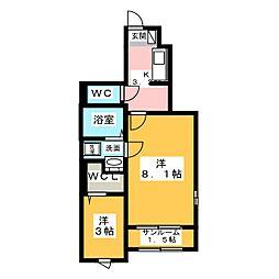 上戸祭町アパート 1階1SKの間取り