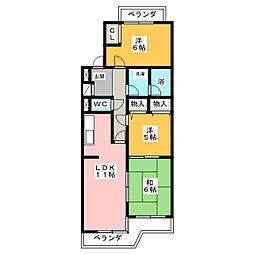 桜花城レジデンス[3階]の間取り