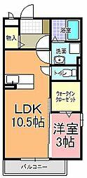 サニーフラット A棟[2階]の間取り