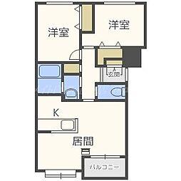 北海道札幌市北区篠路二条2丁目の賃貸マンションの間取り
