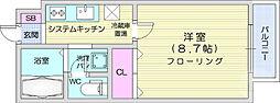 仙台市営南北線 愛宕橋駅 徒歩18分の賃貸マンション 1階1Kの間取り