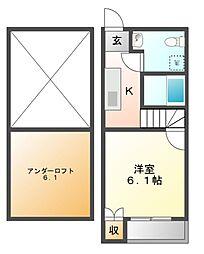 ドヌールV草薙[2階]の間取り
