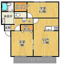 兵庫県西宮市獅子ケ口町の賃貸アパートの間取り