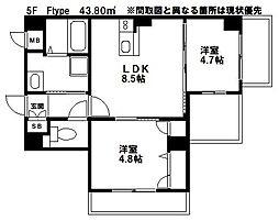 西鉄天神大牟田線 西鉄久留米駅 徒歩5分の賃貸マンション 5階1LDKの間取り