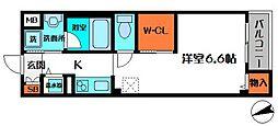 ラ・ルーチェ 1階1Kの間取り