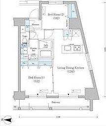 京急本線 新馬場駅 徒歩2分の賃貸マンション 14階2LDKの間取り