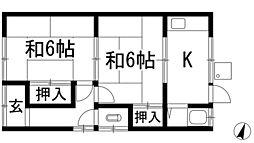 大阪府箕面市桜6丁目の賃貸アパートの間取り
