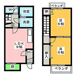 愛知県長久手市杁ケ池の賃貸アパートの間取り