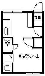 深川総合ハイツA 2階ワンルームの間取り