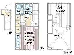 名古屋市営名港線 日比野駅 徒歩13分の賃貸アパート 2階1Kの間取り
