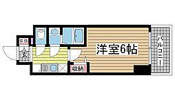 プレサンス神戸元町ベルシオン 12階1Kの間取り