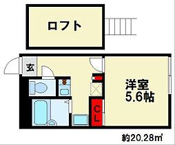 JR鹿児島本線 大野城駅 徒歩13分の賃貸アパート 1階1Kの間取り