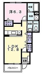 グリーンリーフII 1階1LDKの間取り