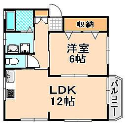 兵庫県伊丹市荻野西2丁目の賃貸マンションの間取り