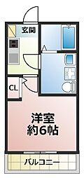 ベルメント本八幡 2階1Kの間取り