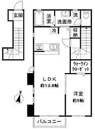 東京都世田谷区等々力7丁目の賃貸アパートの間取り