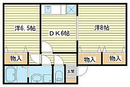 兵庫県相生市赤坂1丁目の賃貸アパートの間取り