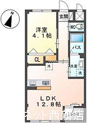 福岡市地下鉄七隈線 次郎丸駅 徒歩14分の賃貸マンション 2階1LDKの間取り