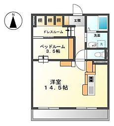 愛知県清須市阿原池之表の賃貸アパートの間取り