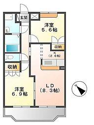 茨城県つくば市高見原2丁目の賃貸アパートの間取り